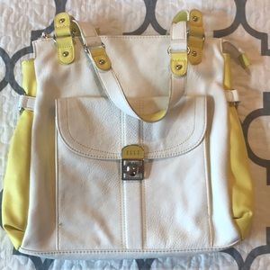 Elle yellow & white shoulder bag